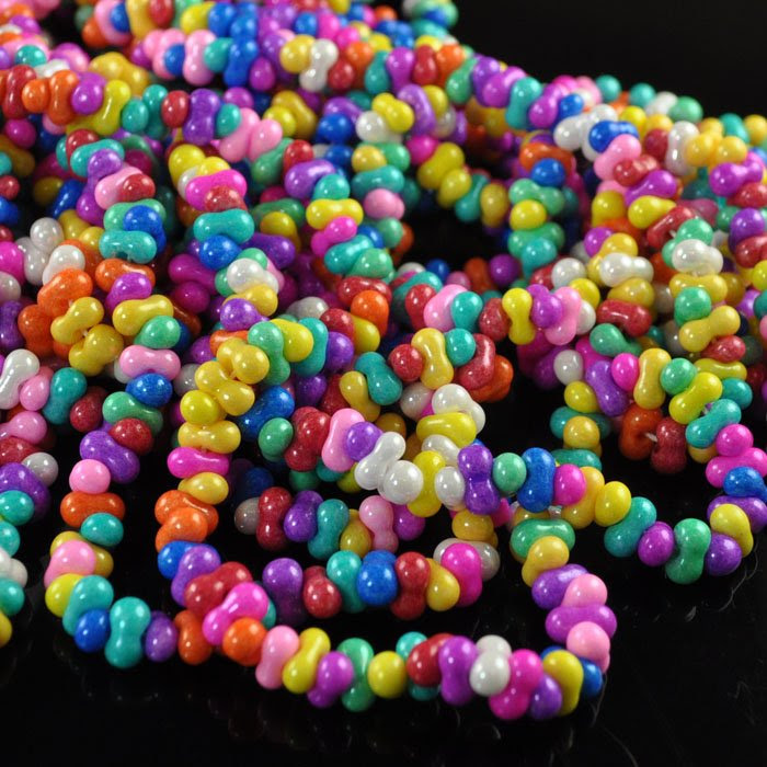 68002511 Czech Seedbeads - 4 x 6 mm Farfalle - Candy Store (1 strand)