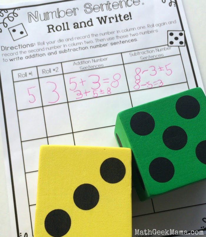 Number Sentence Roll and Write with Dice