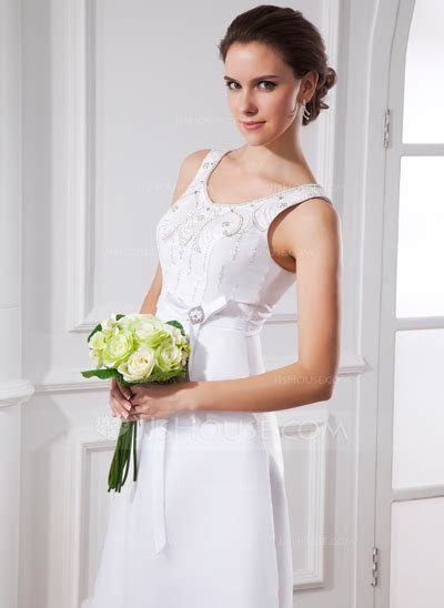 A Line/Princess Scoop Neck Tea Length Satin Organza