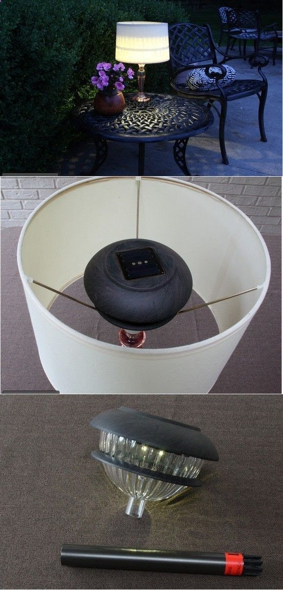 Make an Outdoor Lamp from and old one - I would definitely need to attach mine due to heavy wind's