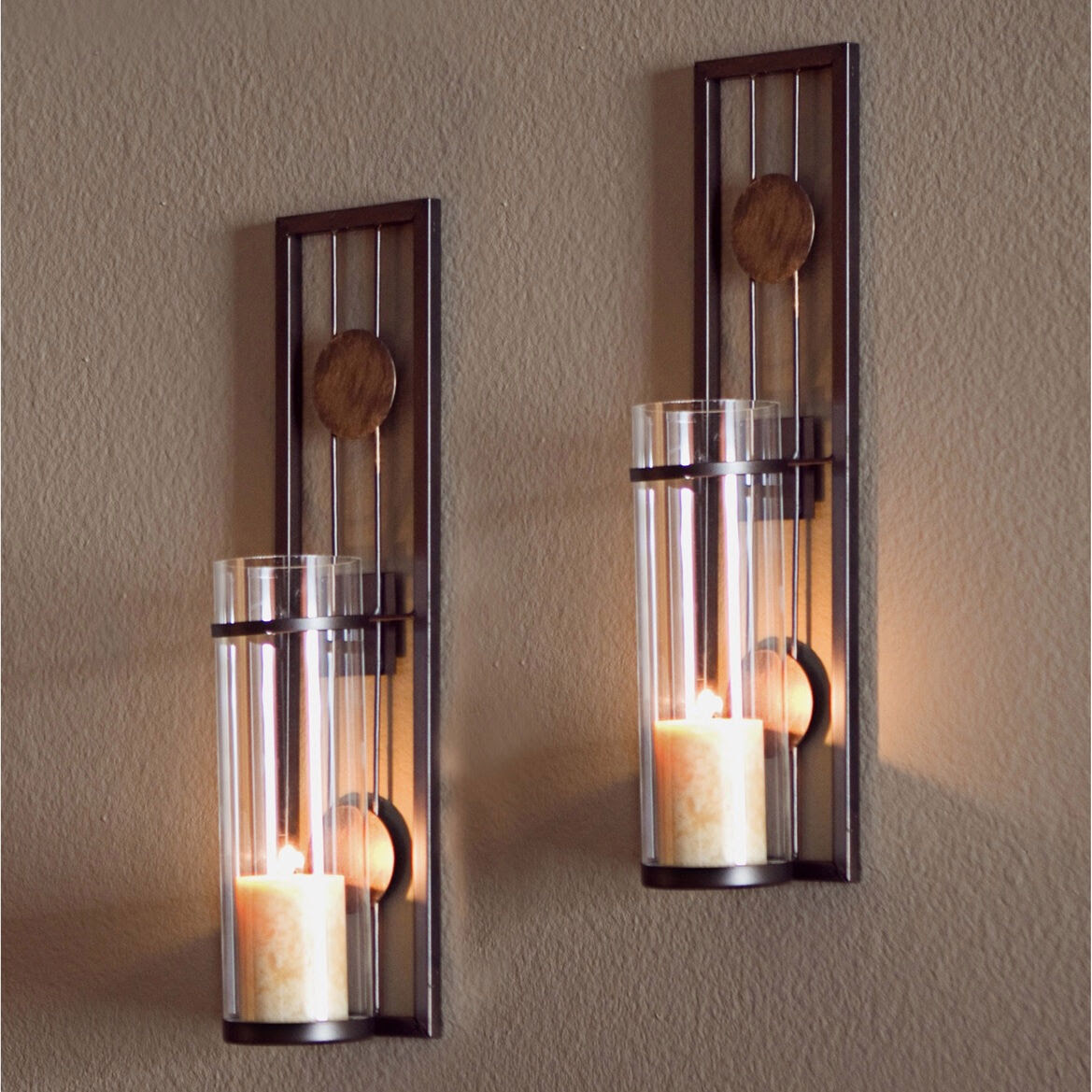 Glass Metal Wall Mounted Sconces 2 Pillar Candle Holders ...