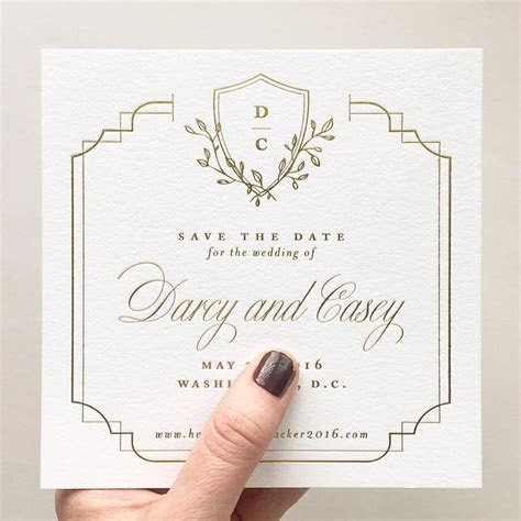 Gold Foil Save the Date with Custom Crest   Stephanie B