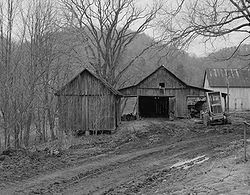 A typical crib barn in Marshall County, West Virginia.