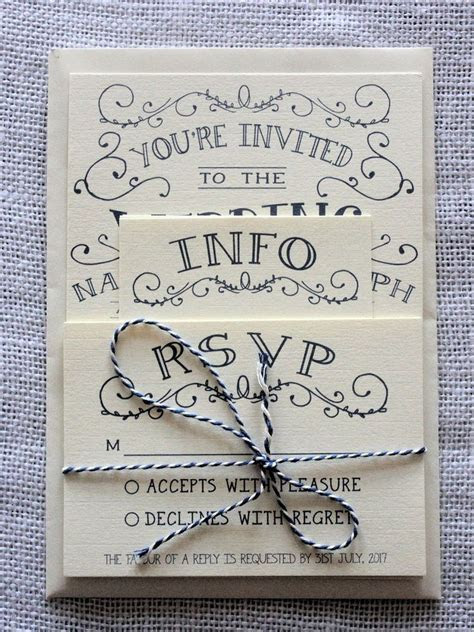 Vintage Shabby Chic Personalised Wedding Invitations: Day