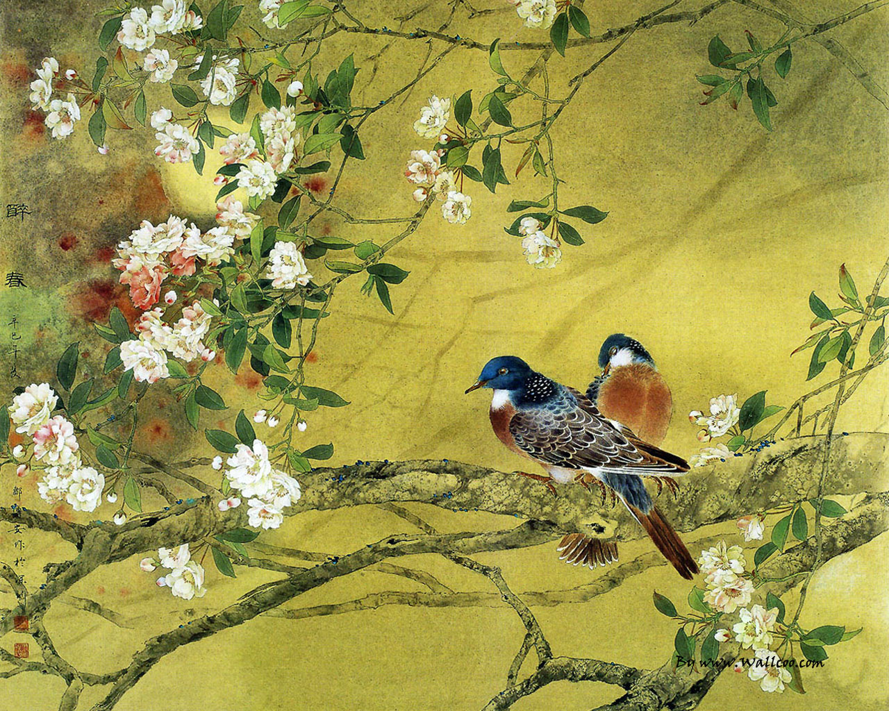 Image result for flowers and birds wallpaper