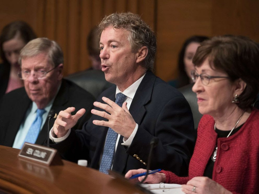 PHOTO: Senator Rand Paul directs a question to Alex Azar during the Senate Health, Education, Labor and Pensions Committee hearing on Azars nomination to be Secretary of Health and Human Services, on Capitol Hill in Washington, Nov. 29, 2017.