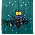 Owl with scarf shower curtain