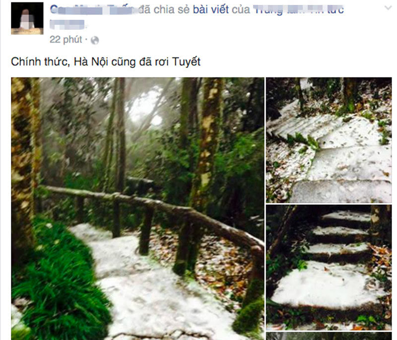 tuyết rơi ở Hà Nội, cộng đồng mạng