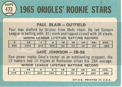 #473 Orioles Rookie Stars: Paul Blair and Dave Johnson (back)