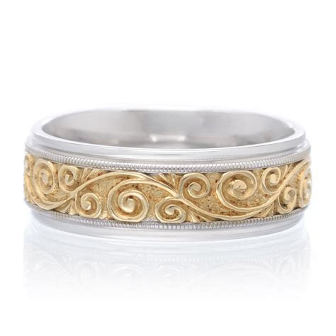 14K Two Tone Gold 7.5mm Engraved Scroll Band   Long's Jewelers