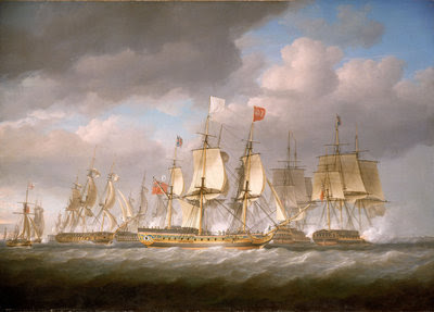 The 'Royal Sovereign' conveying Louis XVIII to France, 24 April 1814 Fine Art Print by Nicholas Pocock