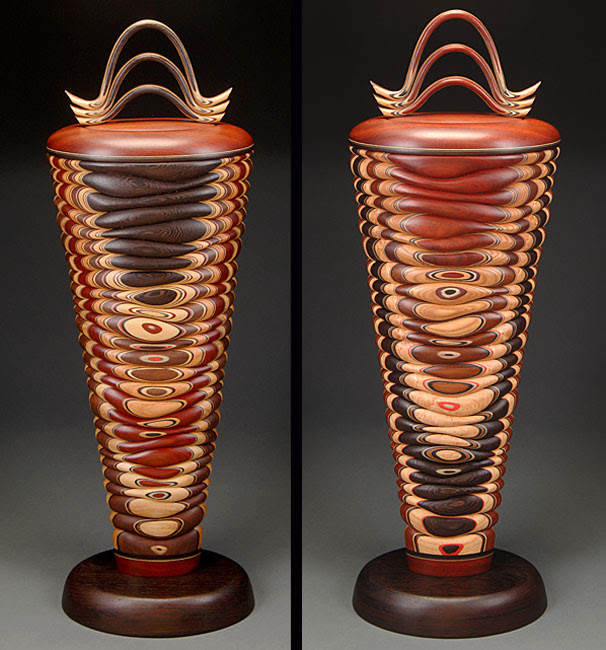 Tapered Urn featuring Bloodwood and Wenge double view
