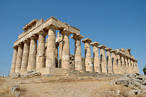The ancient Greek Temple of Hera in Selinunte,...