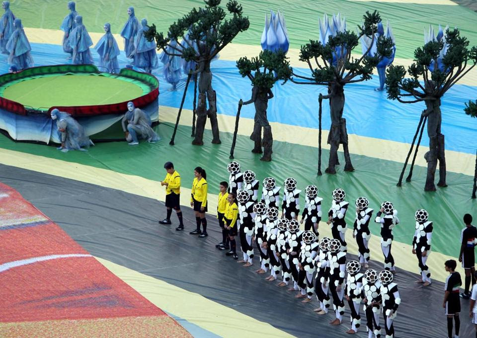 Dancers lined up at the opening ceremony.