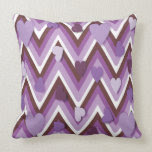 Purple Hearts And Cheverons Pillow