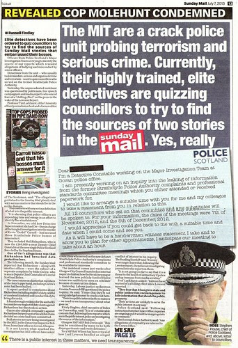COP MOLEHUNT CONDEMNED Sunday Mail 7 July 2013 w