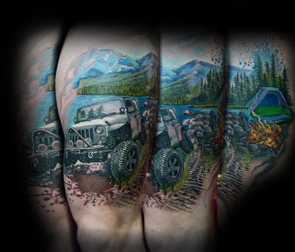 Guys Jeep Tattoo Design Ideas