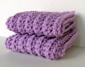 Lavender Pastel Spring Ribbed Cotton Washcloths Set of 2