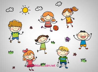 Vektörel çizim çocuklar Güneş Bulut