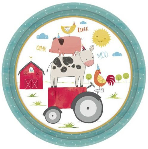 Boys Girls Toddlers Babies Barnyard Farm Animals Birthday Party Tableware Plates