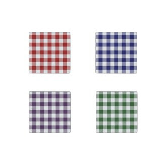 Homey Gingham Pattern Set–Red, Navy, Purple, Green Stone Magnet