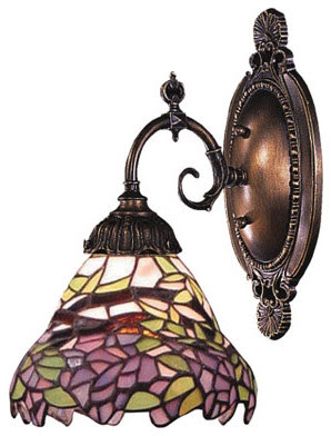 Mix-N-Match Tiffany Bronze One-Light Wall Sconce with Tiffany ...
