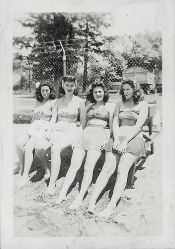 Four women at the beach