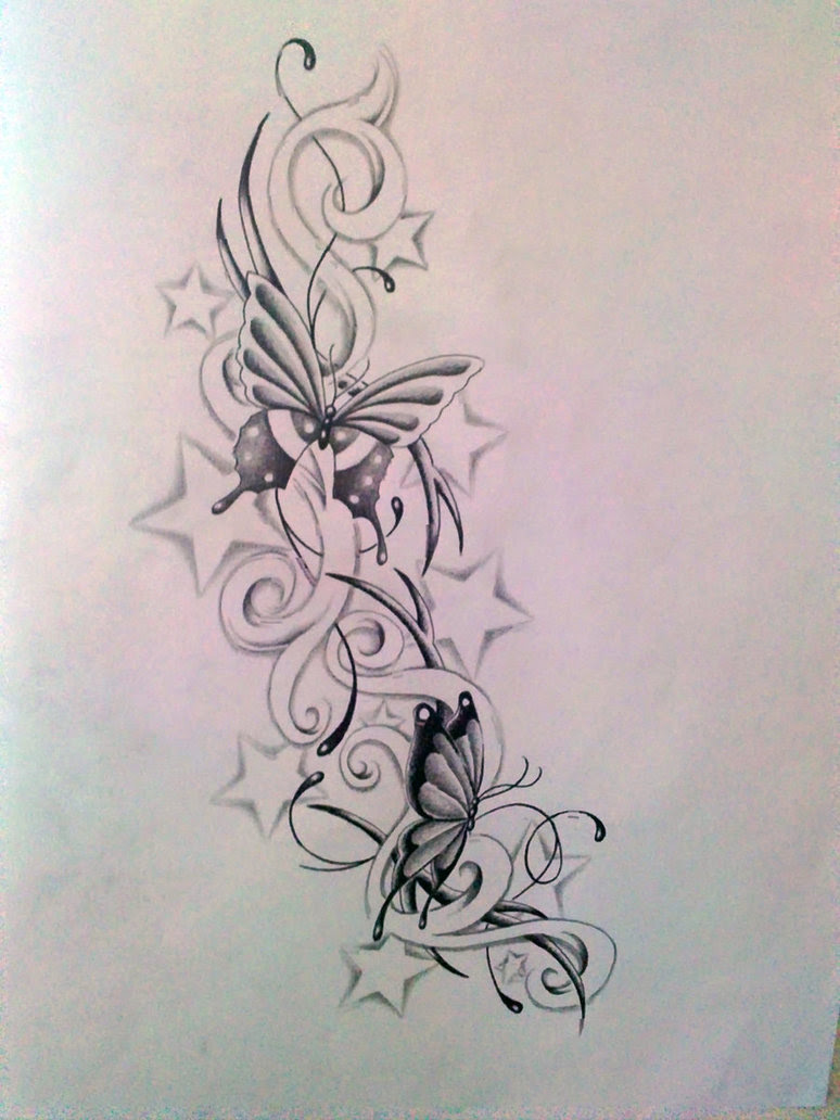 Awesome Stars And Butterfly Tattoo Design