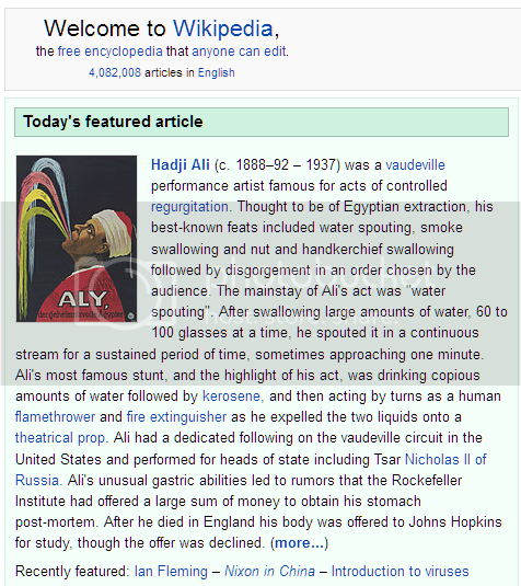 screenshot of 'Today's featured article' on Wikipedia's home page