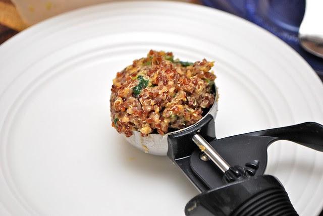 scoop of quinoa pattie mix
