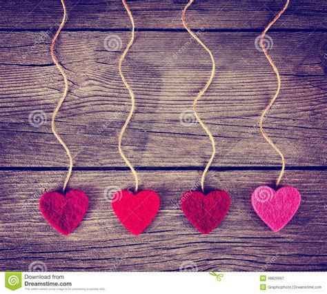Felt Fabric Love Valentine's Hearts Hanging On Rustic