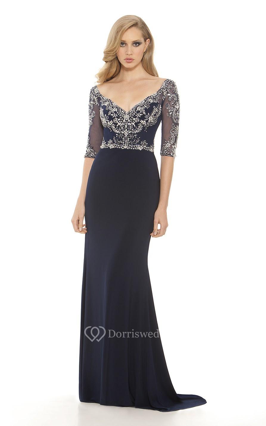 Sheath Floor-Length V-Neck Half Sleeve Chiffon Beading Illusion Dress