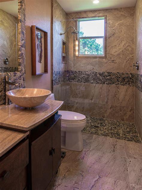 earth toned bathroom  contemporary flair hgtv