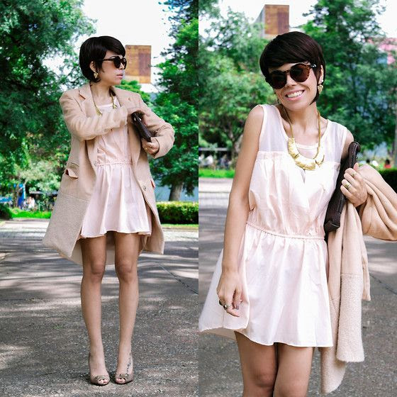 Pink Dress, Gold Necklace, Coat,