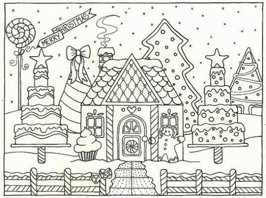 - Gingerbread House Coloring Pages For Adults - Gingerbread House Jack