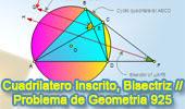 Problema de Geometría 925 (English ESL): Cuadrilátero Inscrito, Circunferencia, Diagonal, Bisectriz, Rectas Paralelas