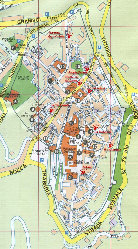 Urbino, map of restaurants