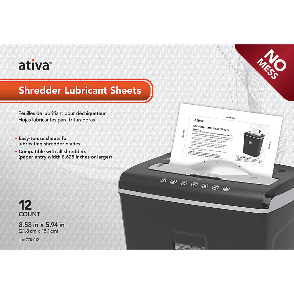 http://www.officedepot.com/a/products/778012/Ativa-Shredder-Lubricant-Sheets-Pack-Of/