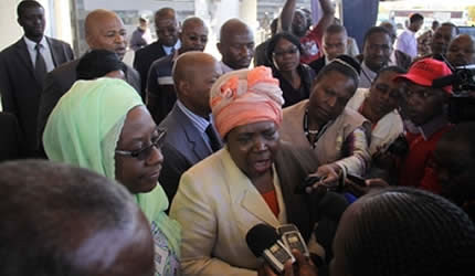 African Union Commission chairperson Dr Nkosazana Dlamini-Zuma addresses the media alongside Commissioner for Political Affairs Dr Aisha Abdullahi on arrival at Harare International Airport yesterday. (Tawanda Mudimu by Pan-African News Wire File Photos