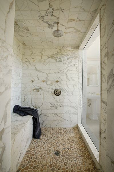 Artistic Tile: Paul Siskin - Gorgeous seamless glass shower with rain shower head, pebble shower floor, ...