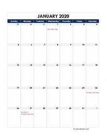 Kalender 2020 Download Excel