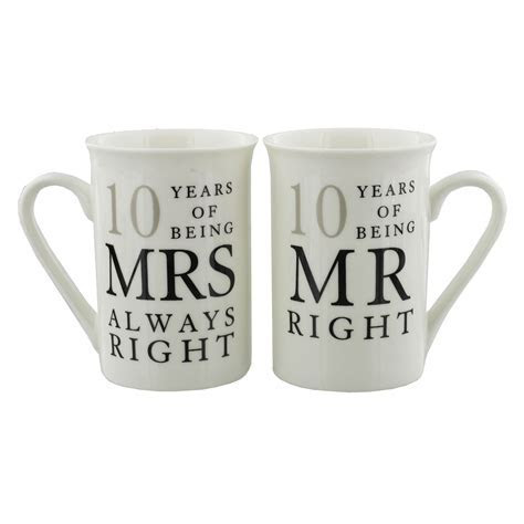 10th Wedding Anniversary Mr & Mrs Mug Gift Set   10 years