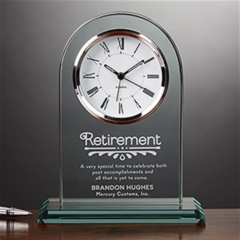 Engraved Glass Personalized Retirement Clock   Timeless