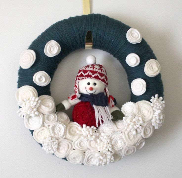 snowman yarn wreath