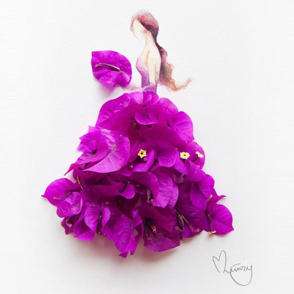 Elle Peint à lAquarelle de Magnifiques Robes faites avec de Vraies Fleurs