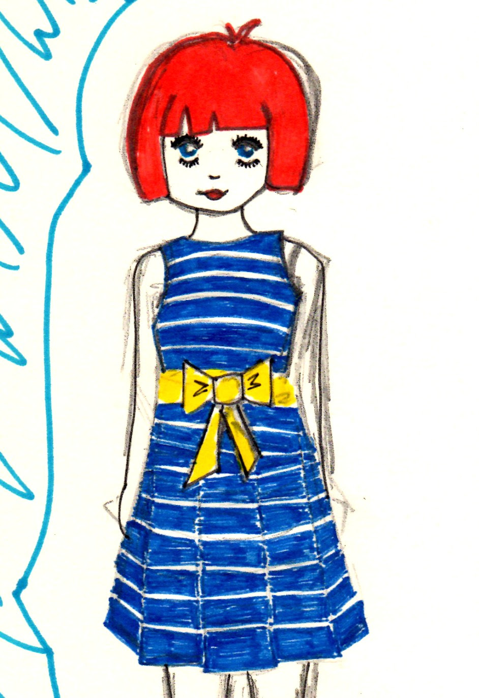 Polo Ralph Lauren Girls Sleeveless Dress With Striped Bow Waist Illustration
