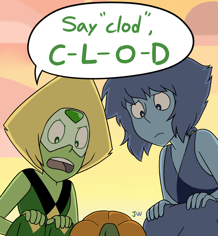 Speaking lesson Honestly I can't believe Lapis would let Peridot teach their kid how to swear haha XDD I love this scene so much. Maybe they're not the best parents but they tried their best 😳