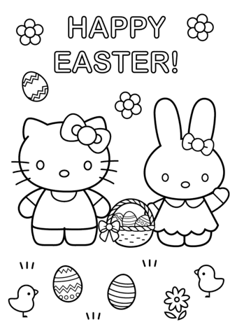 hello kitty with easter bunny coloring page  free printable coloring pages