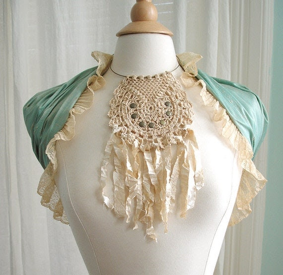 Crochet Lace Necklace - Boho Dreamcatcher Bib Choker with Shabby Silk Fringe