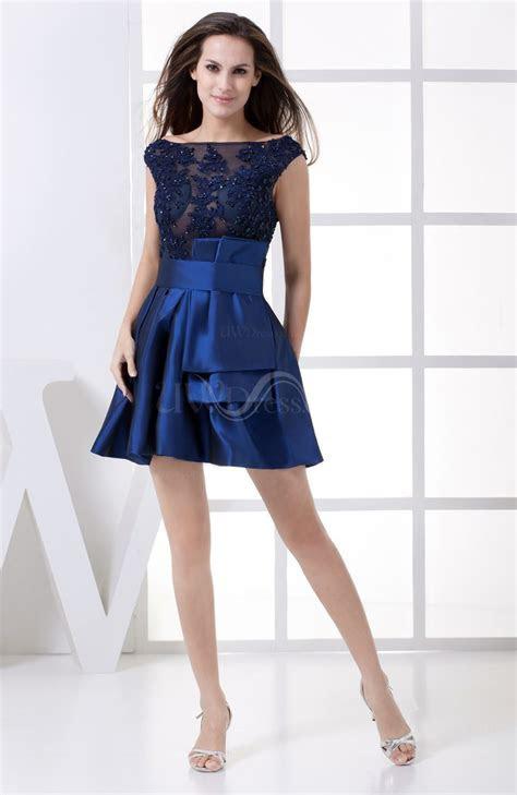 Dark Blue Elegant A line Sheer Sleeveless Taffeta Edging